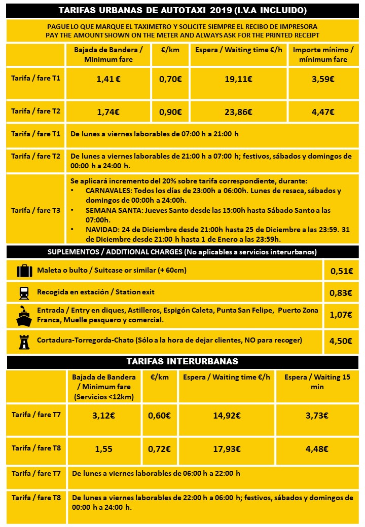 Tarifas de precios de Taxi en Cádiz. Tarifas Urbanas