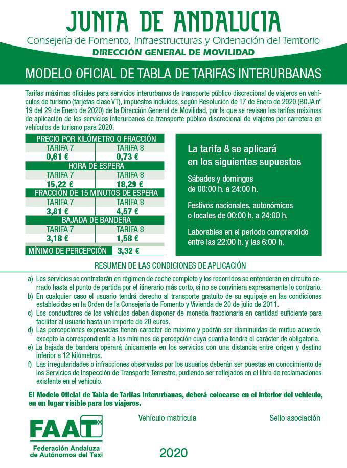 Tarifas de precios de Taxi en Cádiz. Tarifas interurbanas Taxi Junta Andalucía. Radio Taxi Cádiz